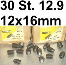 30 Madenschrauben Schraube M12x16 Schrauben Gewindestifte Zapfen Madenschraube
