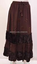 GYPSY BOHO EMBROIDERED SEQUINED GEM RUFFLE PATTERN VELVET TIERED SKIRT BROWN 20