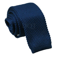 Men's Knitted Polyester Plain Square Cut End Tie - Evening Work Party