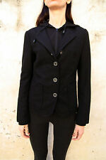 Guess Womens Jacket Wool Coat Hoodeed Black M Medium Auth.