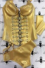 R1763 SET Rubber Latex Westward Bound BUCKLE MISTRESS CORSET 12/Medium One Only