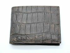 Dark Brown Naturally Distressed Genuine Leather with Crocodile Print Wallet