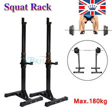 2 x Adjustable Squat Rack Bench Press Barbell Stand Gym Weight Lifting Fitness