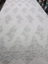 "Silver Floral Mesh w/ Embroidery Hand Beaded Lace Fabric 52"" - Sold by the yard"