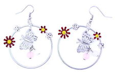 beautiful daisy and butterfly hoop earrings 2 colours
