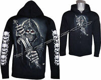 Grim Reaper Sword Death Glow In Dark Zip Zipped Hoodie Hoody Jacket M - XXL