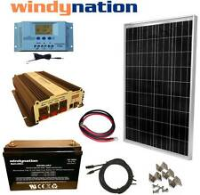 100W 12V Solar Panel Kit + 1500W Inverter + 100ah AGM Battery RV Boat Off Grid