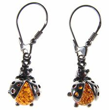 ORANGE BALTIC AMBER STERLING SILVER 925 LADYBIRD DROP DANGLING HOOPS EARRINGS