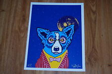 George Rodrigue Blue Dog Looking At Life Through Rose Colored Glasses Signed Art