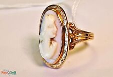 Vintage Antique Victorian Shell Cameo Cocktail Ring 14K Yellow Gold Hand Carved