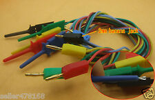 5PCS color Gold 2mm Banana Plug to Test Hook claw 24AWG Silicone Cable 100cm 3Ft