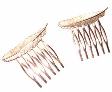 2x Rose Gold Feather Leaf Hair Combs Vintage Woodland Wedding Bridal Boho 3AK