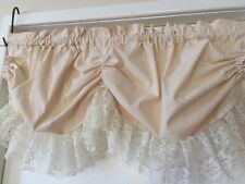 Natural Cream Calico & Lace Shabby Austrian Festoon Balloon Curtain 112cm wide