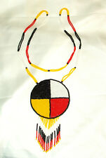"Beaded Medicine Wheel 3"" Rosette Necklace Powwow Regalia Fair Trade"