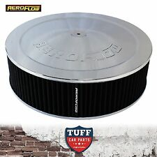 """Aeroflow Chrome Air Cleaner Assembly 14"""" x 4"""" with Drop Base & Washable Filter"""