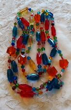 """Vtg ART DECO Rainbow GLASS BEAD FLAPPER NECKLACE Red String 42"""" long"""