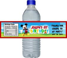 Mickey Mouse Birthday Party Water Bottle Labels Favors Personalized Custom