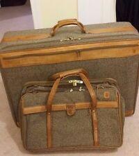 """2 Vtg Hartmann Tweed & Belting Leather 29""""-21"""" Fold Wardrobe Luggage Suit Case"""