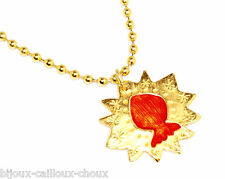 VALERIE VILOIN LABBE PARIS COLLIER original couleur or émail orange necklace