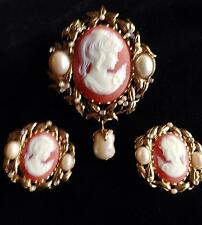 VICTORIAN-REVIVAL CAMEO SET Kenneth Jay Lane PENDANT BROOCH & ERs KJL for Avon