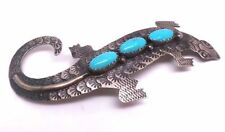 Old style Navajo Sterling Silver Turquoise Lizard Pin - Tim Yazzie
