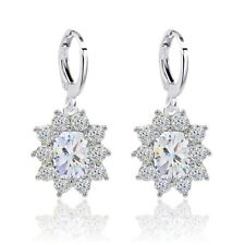 Sunny Wedding Jewelry White Gold Filled Oval Cubic Zircon Drop Earrings For Lady