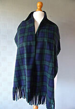 Green and blue tartan blanket shawl pashmina in Traditional Black Watch plaid