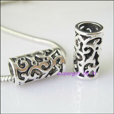 2Pcs Tibetan Silver Flower Tube Spacer Beads Charms 11x21.5mm