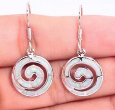 CIRCLE OF LIFE Silver/Rhodium Plated WHITE FIRE OPAL Drop Earrings 12x12mm