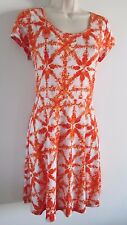 New MICHAEL M KORS Size M Orange White Stretch Knit DRESS Exposed Rear Zipper