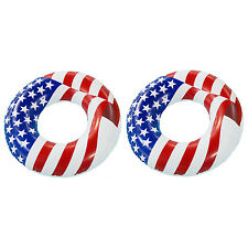 "Swimline 36"" Inflatable American Flag Swimming Pool and Lake Tube Float (2 Pack)"