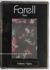 Collants MARRON FLEURS - Taille 1 - 80 D - FARELL pour femme tights NEUF #C28