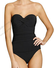 Profile by Gottex D-Cup Ruched Slimming Twist Bandeau Swimsuit One Piece 10D Nwt