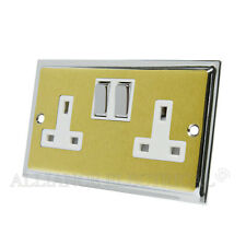 Slimline Satin Brass Polished Chrome Edges Socket 2 Gang 13A Double Plug Outlet