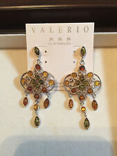 Genuine Honey, Cognac, Green Amber Stones Chandelier Earrings Silver RV $390.00