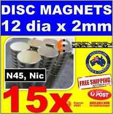 15X DISC Neodymium Rare Earth Magnets 12mm X 2mm N45
