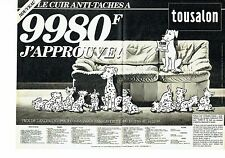 Publicité Advertising 037  1985  Tousalon (2p) salon cuir anti-taches Dalmatiens