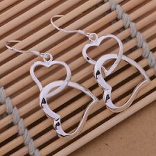 Earrings Double Love Heart Link Hook Drop Ladies 925 Sterling Silver Dangling