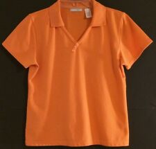 LIZGOLF RN 52002- Tangerine Orange V-neck Textured Polo/Golf Shirt-Women: L