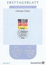 BRD 2012: Die Göttinger Sieben! Ersttagsblatt der Nr. 2962! 1A erhalten!