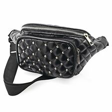Black Padded Stud Faux Leather Bum Bag Fanny Pack Festival Holiday Accessories