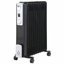 11 FIN 2500W PORTABLE ELECTRIC OIL FILLED RADIATOR BLACK CARAVAN HEATER WINTER