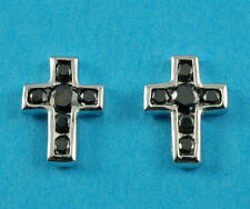 New Boxed Sterling Silver Jet Colour CZ Cross Studs Earrings 10mm 925 Hallmarked