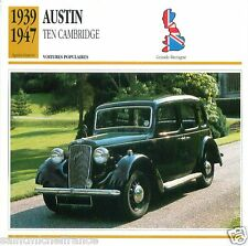 AUSTIN TEN CAMBRIDGE 1939 1947 CAR GREAT BRITAIN GRANDE BRETAGNE CARD FICHE
