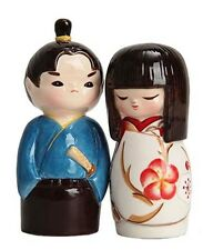 JAPANESE KOKESHI DOLL SALT & PEPPER SHAKERS PT