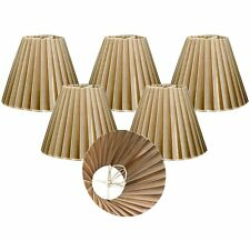 "Royal Designs 6"" Chandelier Lamp Shades Set of 6 Empire Organza Gold Clip-On"
