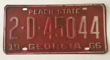 Vintage 1966 Georgia Automobile License Plate Tag FORD CHEVY Mustang 2 D 45044