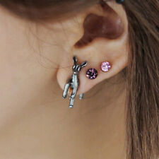 Three-dimensional Lovely Plum Animal Deer Moose Puncture Ear Studs Earrings