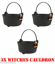 3x Halloween Witches Cauldron Handles Large Trick Treat Candy Bucket Fancy Dress