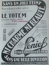 PUBLICITE LENIEF BROSSE A DENTS INTERCHANGEABLE TOTEM PORTE CREME DE 1927 AD PUB